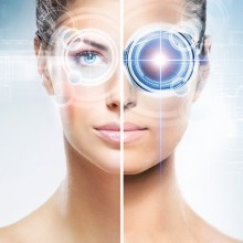 Two different pictures of women with the laser hologram on their eyes (collage about eye scanning technology and virtual reality)