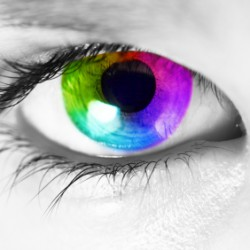Macro of a human eye with spectrum colors in the iris looking at camera. Picture converted to black and white except for the iris.
